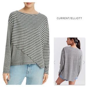 CURRENT/ELLIOT Striped Asymmetrical Long Sleeve